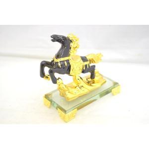 人間関係向上 成功を招く 馬 ガラス台座 置物 黒 小|ryu