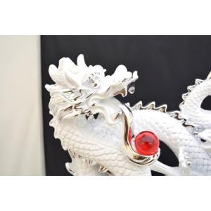 白龍 白馬 如意宝珠 樹脂製置物 台座付き 大|ryu|05
