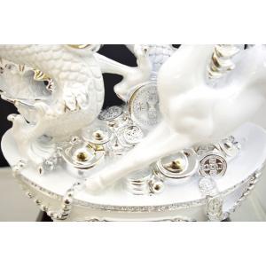 白龍 白馬 如意宝珠 樹脂製置物 台座付き 大|ryu|07