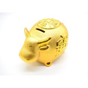 牛 丑 うし 陶器製 貯金箱 金色 大|ryu