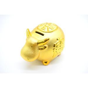 牛 丑 うし 陶器製 貯金箱 金色 小|ryu
