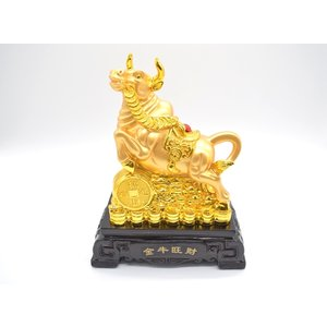 牛 丑 うし 樹脂製置物 黒台座 金色 27cm|ryu