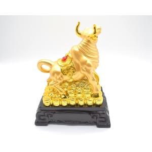 牛 丑 うし 樹脂製置物 黒台座 金色 27cm|ryu|04