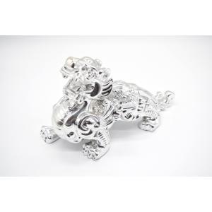 ヤアズ 銀色 樹脂製置物 艶あり 辟邪獣 14cm|ryu