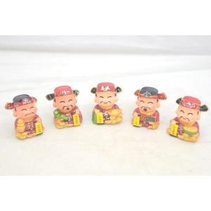 財神様 五路財神 樹脂製置物 カラフル マスコット人形 五個セット 小|ryu