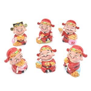 財神様 樹脂製置物 カラフル マスコット人形 六個セット 7.5cm|ryu