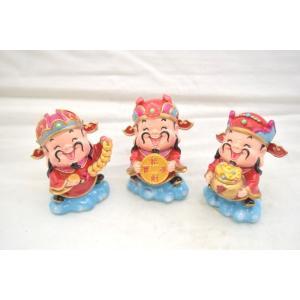 財神 アジアの神々三点セット 人形置物 元宝 古銭 招財進宝 中 7cm|ryu