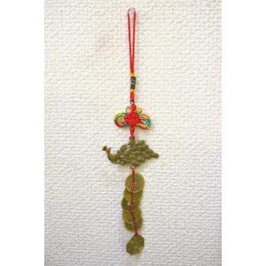 【メール便OK】 五帝銭 根付 銅製 鳳凰つき レプリカ中国古銭 赤|ryu