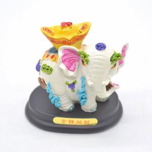 象 ゾウ カラフル 樹脂製置物 台座付き 元宝乗せ|ryu