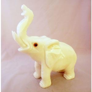 象 ゾウ ぞう 白玉石製置物 大 合格祈願 学力向上 勉強運|ryu