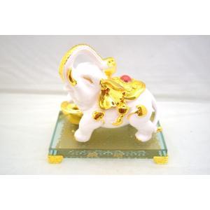 白金象 ゾウ ガラス台座 長寿 学力向上 家庭運 幸福|ryu