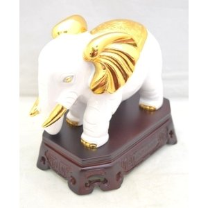 象 ゾウ 樹脂製置物 白 学力向上 幸福|ryu|02