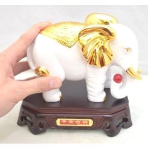 象 ゾウ 樹脂製置物 白 学力向上 幸福|ryu|05