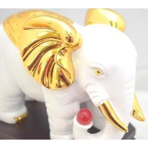 象 ゾウ 樹脂製置物 白 学力向上 幸福|ryu|06