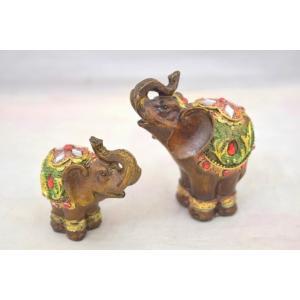 象 ゾウ 木彫り風 樹脂製置物 ペアセット 学力向上 幸福|ryu