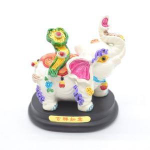 象 ゾウ カラフル 樹脂製置物 台座付き 牡丹乗せ|ryu