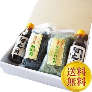 送料無料 【ギフト】人気者大容量セット お徳用 生わかめ、サラダわかめ、本格ポン酢2本 ryugu-choi