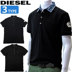 ディーゼル DIESEL ポロシャツ 半袖 00SCSY 0JARS 00SW2T 00MXZ シャツ ブラック デニム メンズ トップス アパレル (CPT) 父の日 ryus-select