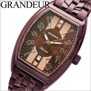 【当店ならお得クーポンあり】グランドール/GRANDEUR メンズ 時計 GSX038W4/ブラウン×パープル/クリスタル ryus-select