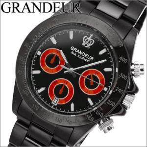 グランドール GRANDEUR メンズ 時計 OSC031W2 ブラック×オレンジ クロノグラフ|ryus-select