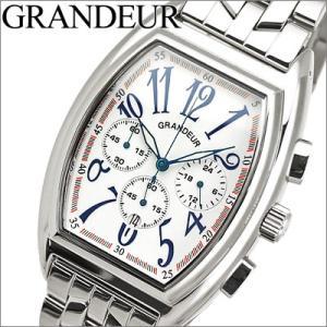 時計 グランドール GRANDEUR メンズ OSC035W1 ホワイト×シルバー クロノグラフ|ryus-select