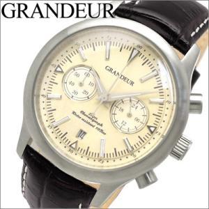 グランドール GRANDEUR メンズ 時計 (OSC046W1) ベージュ×ブラックレザー|ryus-select