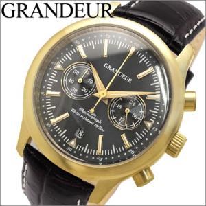 時計 グランドール GRANDEUR メンズ腕時計 OSC046W3 ゴールド×ブラックレザー|ryus-select