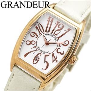 【当店ならお得クーポンあり】グランドール/GRANDEUR レディース 腕時計 GSX011P1/ゴールド/ホワイトレザー ryus-select