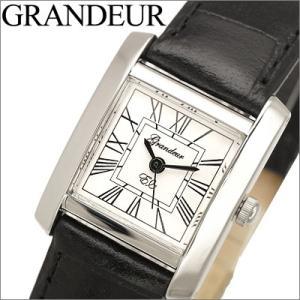 時計 グランドール GRANDEUR レディース腕時計 ESL044W1 ホワイト ブラックレザー|ryus-select