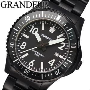 グランドール GRANDEUR メンズ 時計 (GSX047W2) ブラック (20気圧防水) (200M防水)|ryus-select