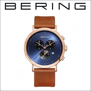 (レビューを書いて5年保証) 時計 ベーリング BERING Classic Series 10540-467 (1) 腕時計 メンズ ネイビー ライトブラウン レザー 父の日|ryus-select