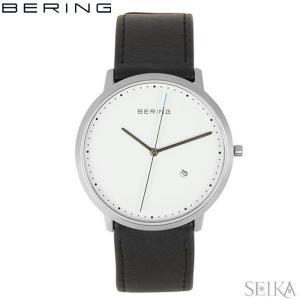 (レビューを書いて5年保証) 時計 ベーリング BERING 11139-404 (25) CLASSIC COLLECTION腕時計 メンズ ホワイト ブラック レザー 父の日|ryus-select