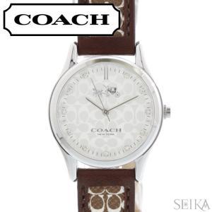 コーチ COACH シグネチャー レディース 時計  【14502332】シルバー ブラウン レザー|ryus-select