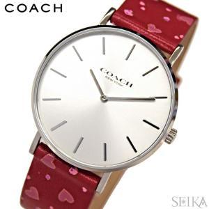 コーチ COACH ペリー 【14503228】レディース 時計シルバー レッド ハート柄 花柄レザー 赤い腕時計|ryus-select