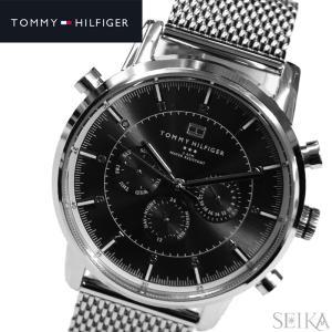 【28】トミーヒルフィガー メンズ 時計 【1790877】シルバー×ブラック メッシュベルト|ryus-select