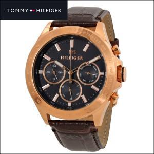トミーヒルフィガー メンズ 時計 1791225(175) ダークグレー ピンクゴールド ブラウンレザー|ryus-select