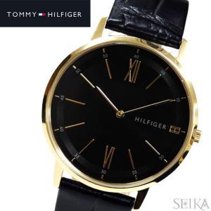 トミーヒルフィガー 1791517(251)時計 腕時計 メンズ レディース ユニセックス ブラック レザー 薄型腕時計/スリムモデル|ryus-select