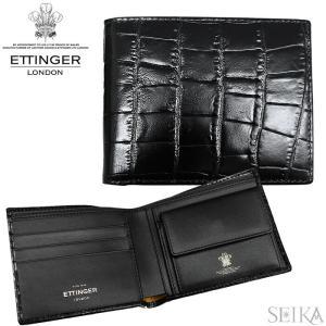 (19) エッティンガー 二つ折り財布 CC141J EBONY CROCO エボニー ブラック クロコ 財布 メンズ 黒 (CPT)|ryus-select