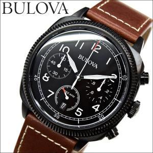 ブローバ BULOVA 98B245(2) ミリタリー時計 腕時計 メンズ ブラック ブラウン レザー|ryus-select