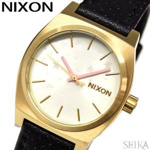 NIXON ニクソン MEDIUM TIME TELLER LEATHER A11722774ホワイト ブラック 星柄 レディース レザー 時計 腕時計|ryus-select