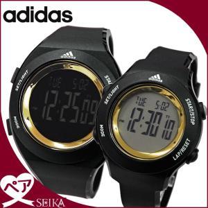 (ペア価格)adidas/アディダス 時計 ペアウォッチ(ADP3208/メンズ)(ADP3212/レディース)ブラック×ゴールド/デジタルウォッチ/、本物、当店在庫だから安心|ryus-select