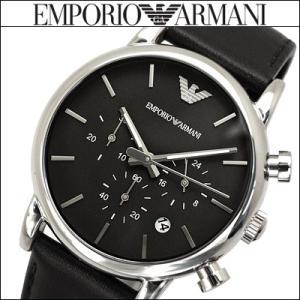 エンポリオアルマーニ/EMPORIO ARMANI メンズ 時計 AR1733/ブラック×ブラックレザー/クロノグラフ|ryus-select