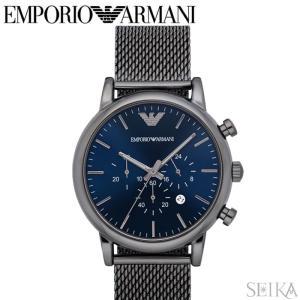 エンポリオアルマーニ EMPORIO ARMANI AR1979時計 腕時計 メンズ ネイビー シルバーメッシュ|ryus-select