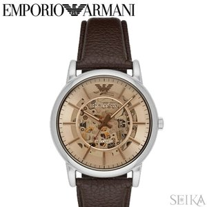 エンポリオアルマーニ EMPORIO ARMANI AR1982時計 腕時計 メンズ ブラウン レザー 自動巻き|ryus-select