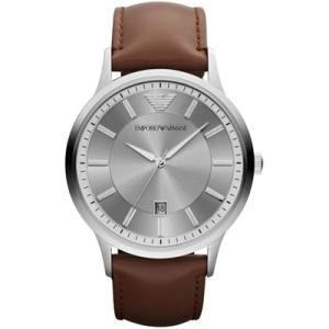 エンポリオアルマーニ メンズ 時計(AR2463)グレー×シルバー/ブラウンレザー|ryus-select