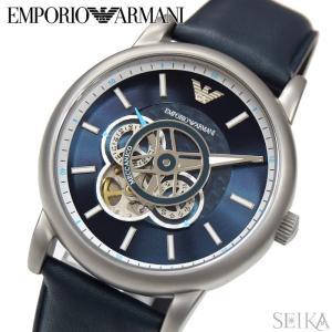 エンポリオアルマーニ EMPORIO ARMANI AR60011 時計 腕時計 メンズ ネイビー レザー 自動巻き|ryus-select