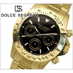 【当店ならお得クーポンあり】ドルチェ セグレート DOLCE SEGRETO メンズ 腕時計クロノグラフ CG300YG/ブラック×イエローゴールド|ryus-select