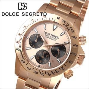 【当店ならお得クーポンあり】ドルチェ セグレート DOLCE SEGRETO メンズ 腕時計クロノグラフ CG300PG/ブラック×ピンクゴールド|ryus-select