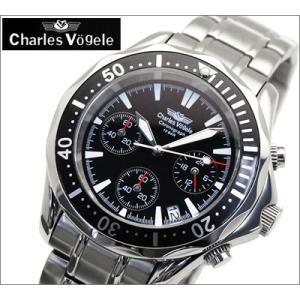 時計 シャルルホーゲル Charles Vogele メンズ腕時計 CV-7995-3 ブラック文字盤 ステンベルト クォーツ 父の日 ryus-select