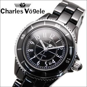 時計 シャルルホーゲル Charles Vogele 腕時計 レディース ホワイトパール ブラック セラミック CV9016-3 ryus-select